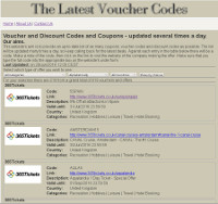 The Latest Voucher Codes screen shot